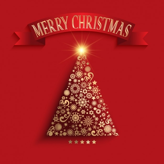 Golden christmas tree made of ornaments background Free Vector
