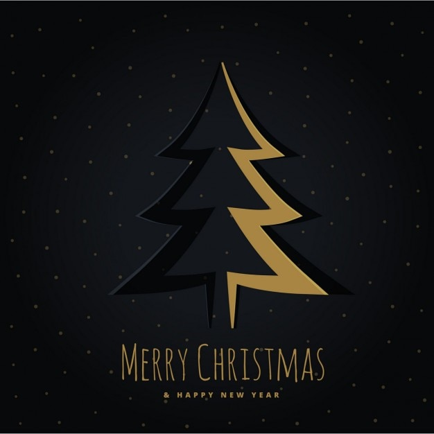 Golden christmas tree on a black background Free Vector
