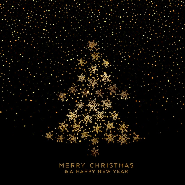 Golden christmas tree of snowflakes Free Vector