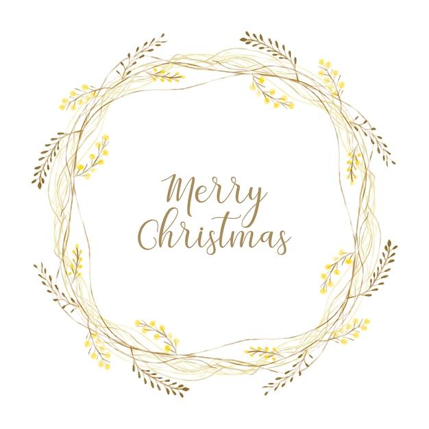 Golden christmas wreath Free Vector
