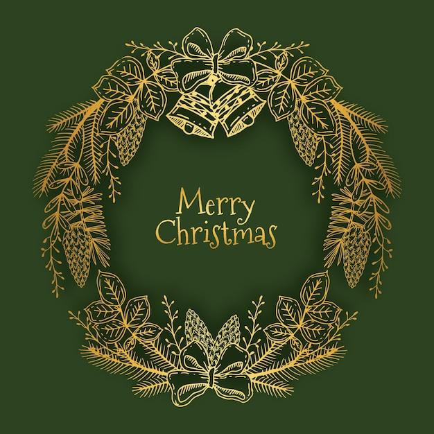 Золотой рождественский венок Premium векторы