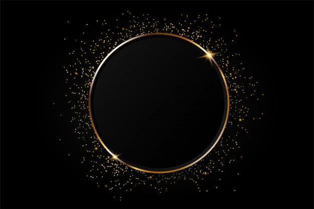 Golden circle abstract background. Premium Vector