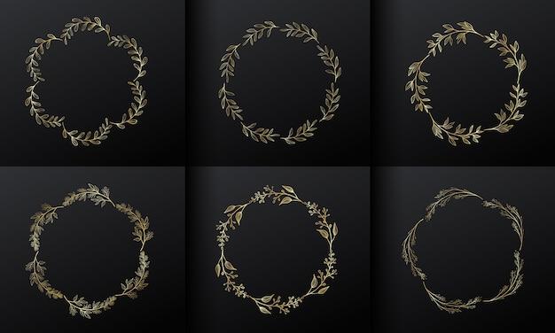 모노그램 로고 디자인을위한 황금 원형 꽃 프레임. 그라데이션 골드 꽃 테두리. 무료 벡터