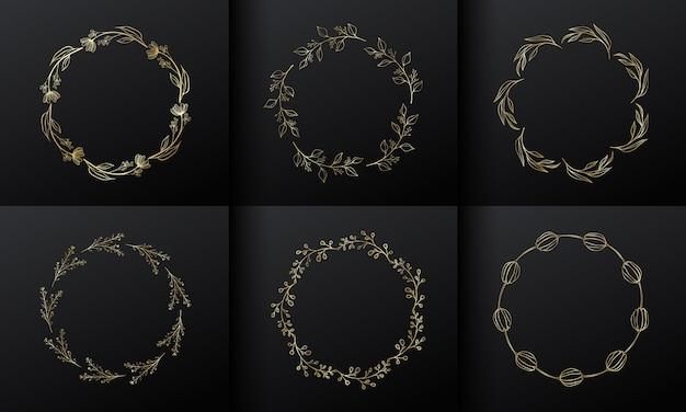 モノグラムロゴデザインのゴールデンサークルフラワーフレーム。グラデーションゴールドの花のボーダー。 無料ベクター