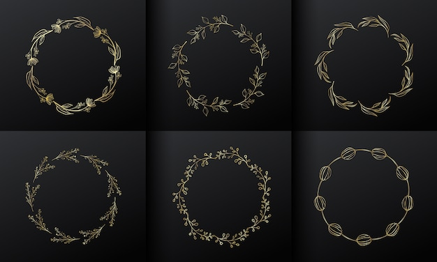 Cornice fiore cerchio dorato per il design del logo monogramma. bordo fiore oro sfumato. Vettore gratuito