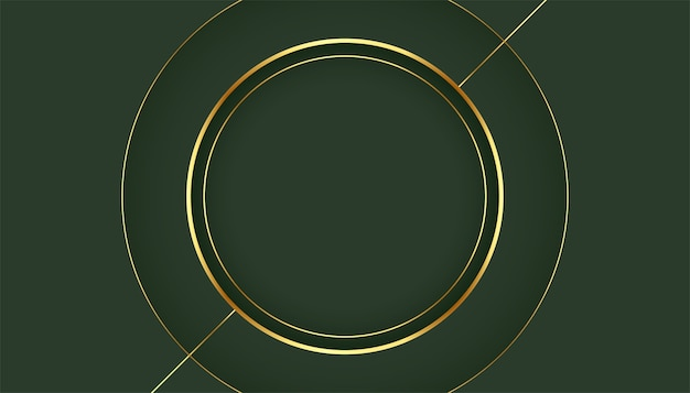 Golden circle frame on green background Free Vector