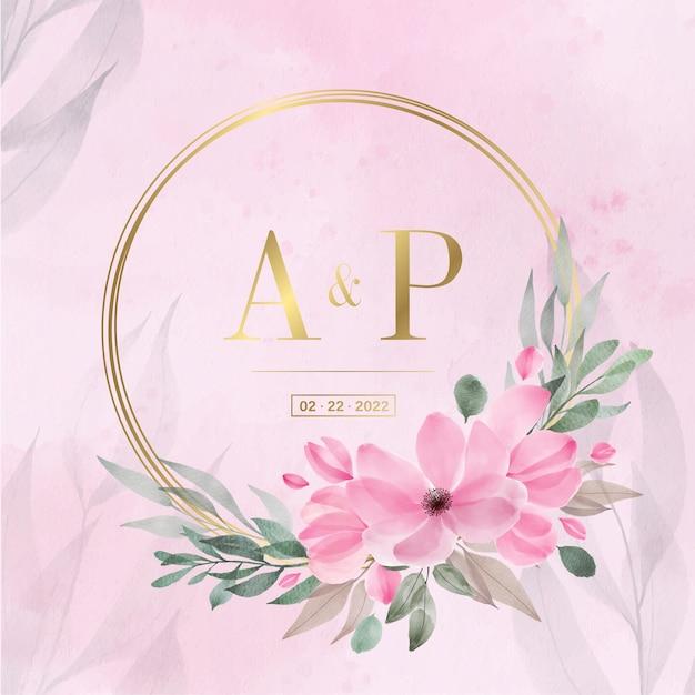 Cornice cerchio dorato con acquerello floreale per carta di invito a nozze Vettore gratuito