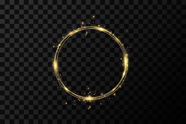 Golden circle rings. decoration design element of gold foil gilding texture.  sparkling twirl Premium Vector