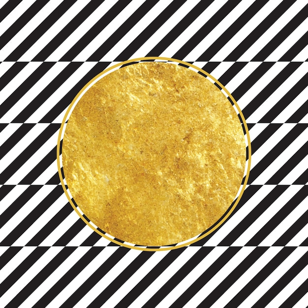 Premium Vector Golden Circle With Black And White Stripe Background
