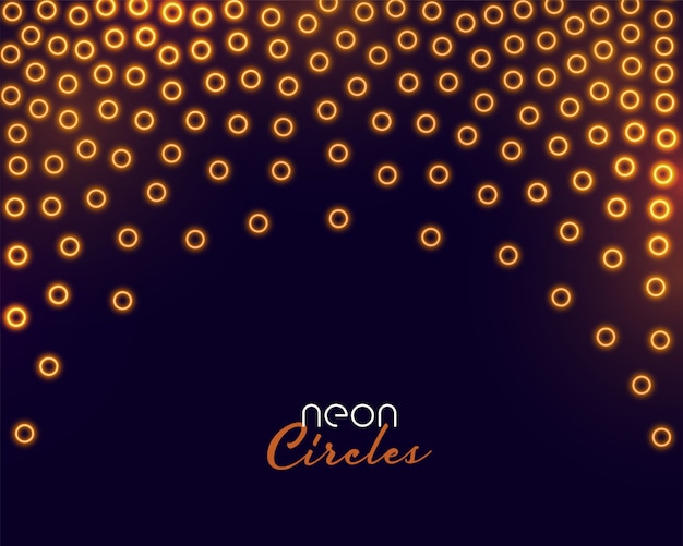 Golden circles confetti in neon glowing style Free Vector