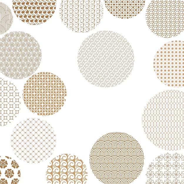 Golden circles with different geometric patterns Premium Vector