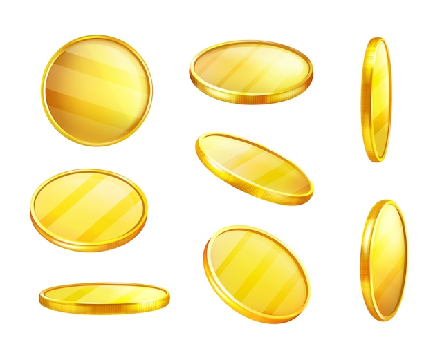 Golden coin in different positions, shiny piece of metal, value money. Free Vector