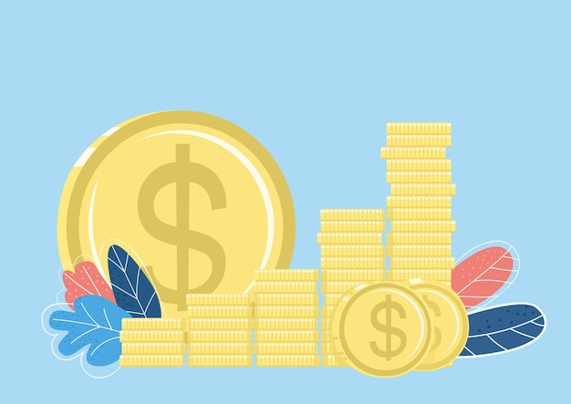 Golden coin stack flat color object. funds and savings. finance market. making savings. investment. rising finance isolated cartoon illustration for web graphic design and animation Premium Vector