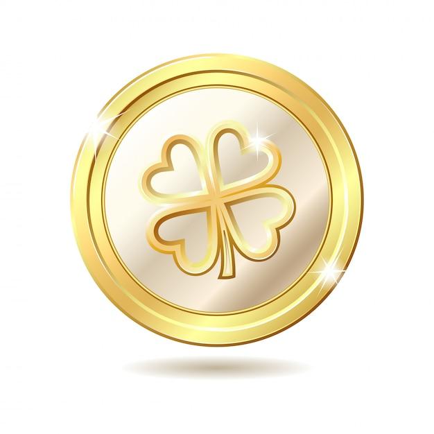 Golden coin with clover. Premium Vector