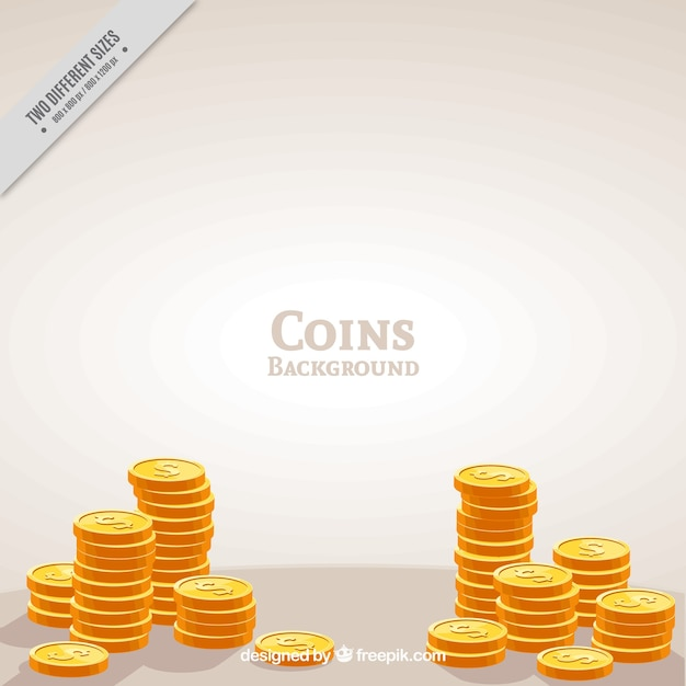 Golden coins background Free Vector