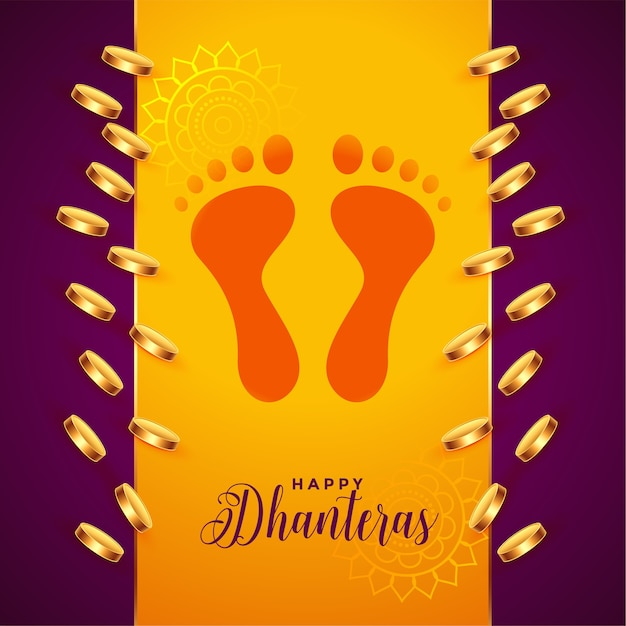 Golden coins and god foot prints dhanteras background Free Vector
