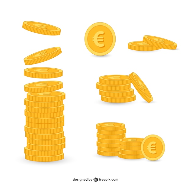 Golden coins pack Premium Vector