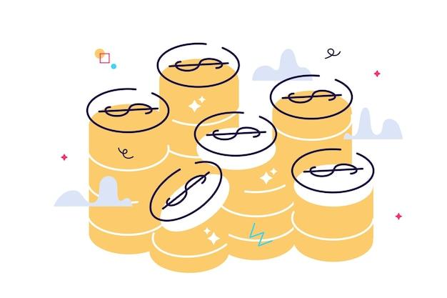 Золотые монеты стек векторные графические иллюстрации. монеты деньги сложены, изолированные на белом фоне Premium векторы