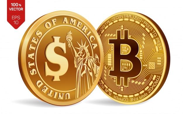 Золотые монеты с биткойн и символ доллара, изолированные на белом фоне. Бесплатные векторы