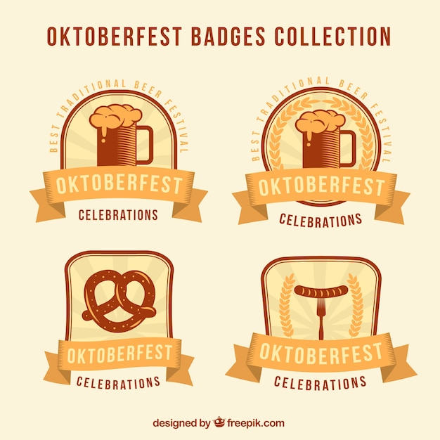 Golden collection of oktoberfest badges
