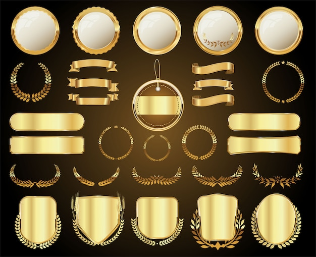 A golden collection of various badges and labels Premium Vector