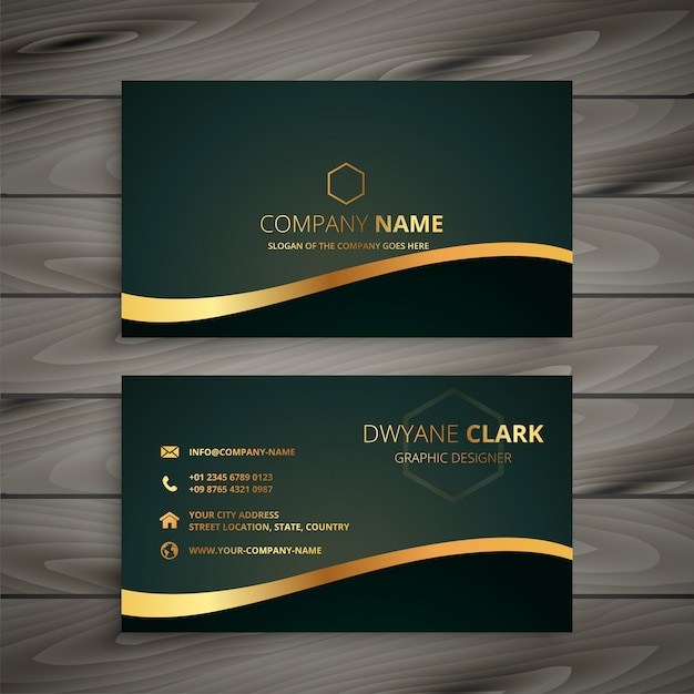 Golden company business card Free Vector