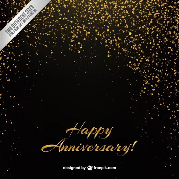 Golden Confetti Anniversary Background Vector Premium