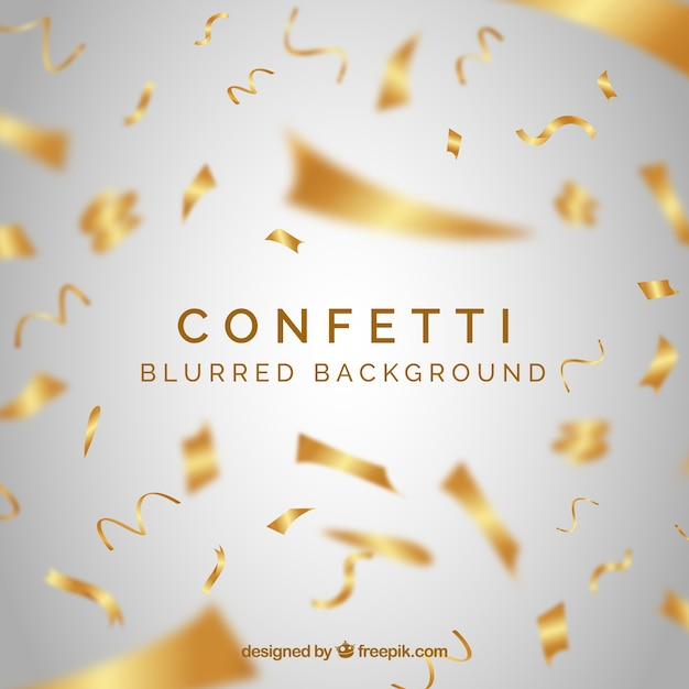 Golden confetti background in realistic style Free Vector