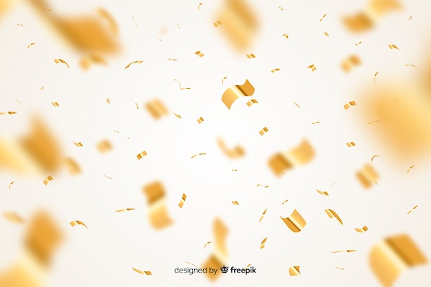 Golden confetti background realistic style Free Vector