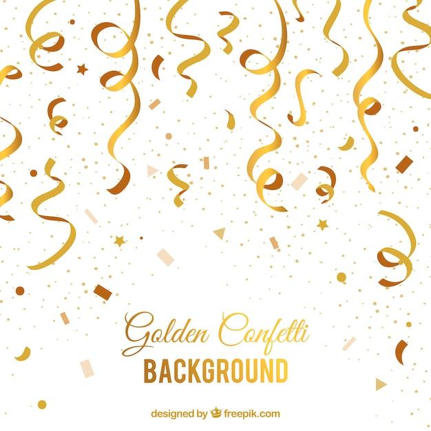 Golden confetti background Free Vector