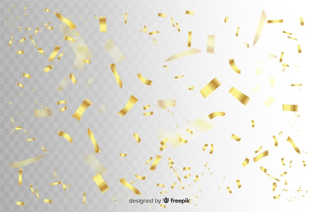 Golden confetti slices falling background Free Vector