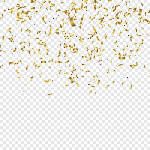 Golden confetti. vector festive illustration of falling shiny confetti glitters. holiday decorative tinsel Premium Vector