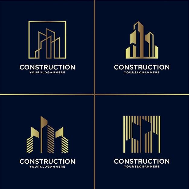 Golden construction logo collection, building, gold, architect, modern, abstract, Premium Vector