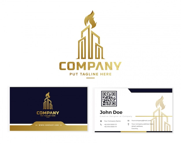 Golden corporate building torch logo with business card Premium Vector
