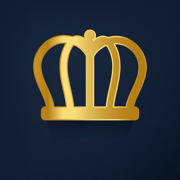 Golden crown on blue background vector Free Vector