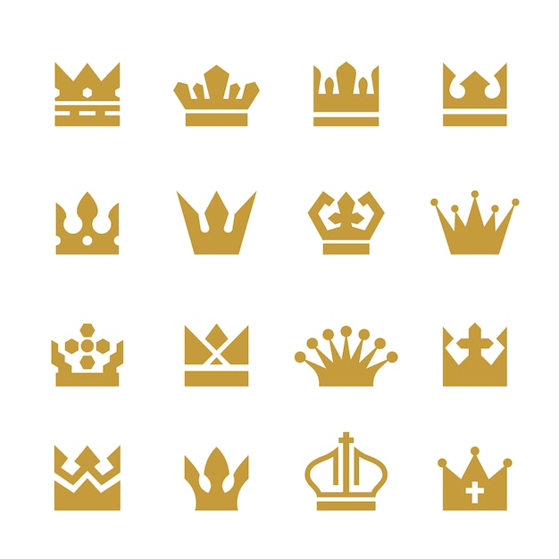 Golden crowns collection Free Vector