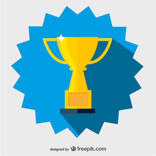 Golden cup badge Free Vector