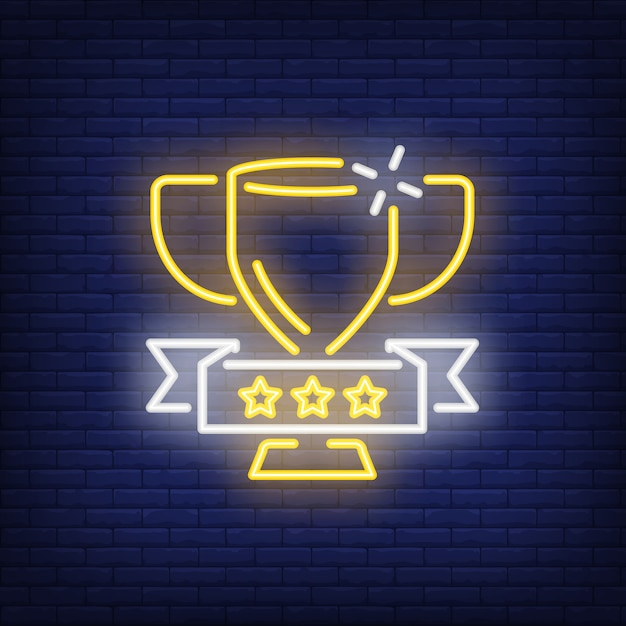 Golden cup on brick background. neon style illustration. victory, trophy, winner. Free Vector