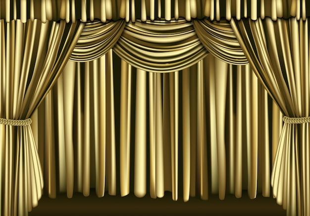 Golden curtain Premium Vector