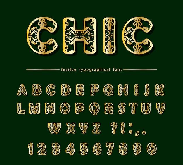Golden cut out decorative font. laser cutting. Premium Vector