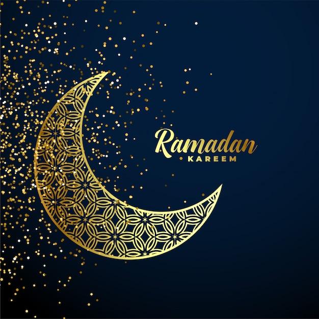 Golden decorative moon ramadan kareem background Free Vector