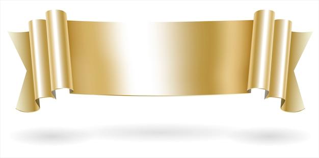 Golden decorative scroll banner Premium Vector