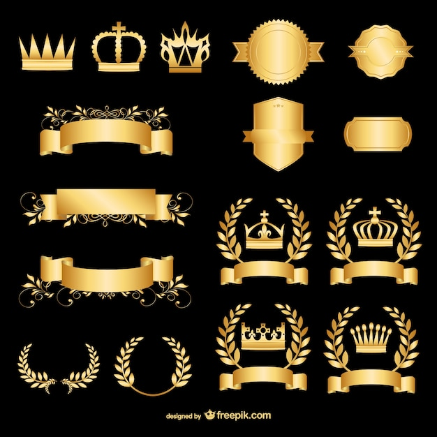 Golden design elements Free Vector