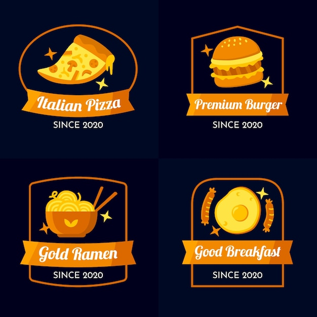 Golden design restaurant logo collection Free Vector
