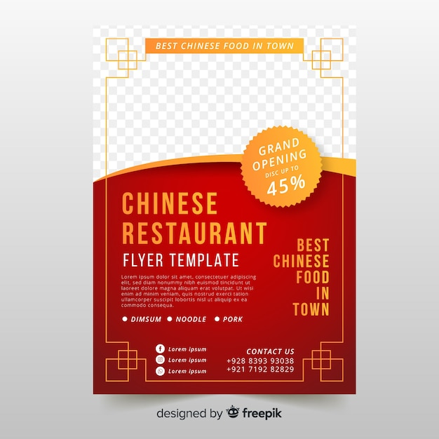 Golden detail chinese food flyer template Free Vector