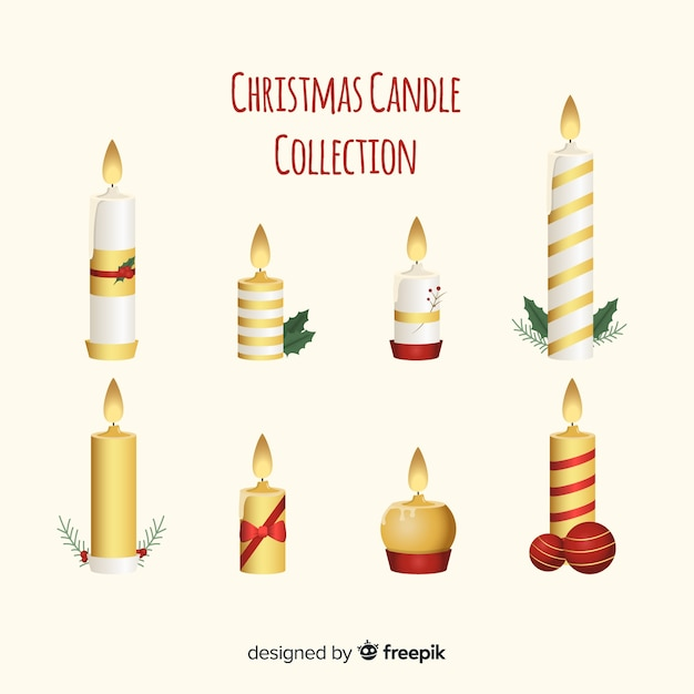 Golden details christmas candles collection Free Vector