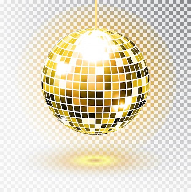 Золотой диско-шар. иллюстрации. изолированные. ночной клуб участник света элемент. яркий зеркальный серебряный шар для диско-танцевального клуба. , Premium векторы