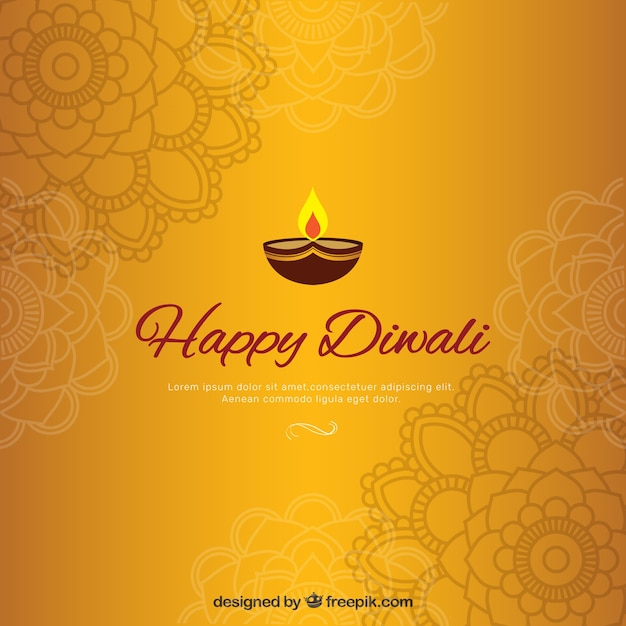 golden diwali background with mandalas vector