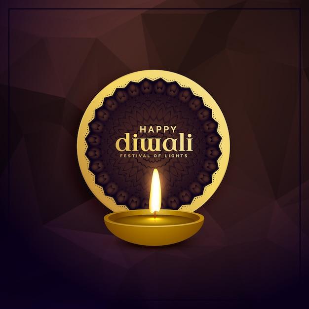 Golden diwali greeting card design with diya lamp vector premium golden diwali greeting card design with diya lamp premium vector m4hsunfo
