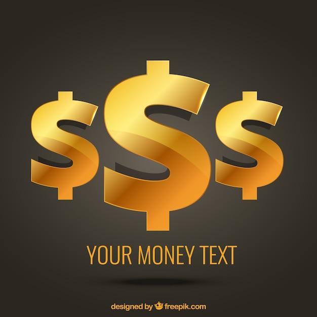 Golden dollar symbols Free Vector